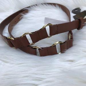 Michael Kors Gold Brown Leather Belt